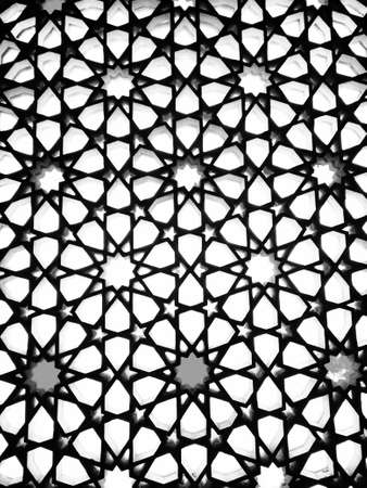 Oriental stained glass window in Medina, Saudi Arabia, Monochrome