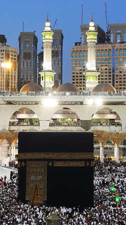 Kaaba after Fajr Prayer in Mecca, Saudi Arabia Stock Photo
