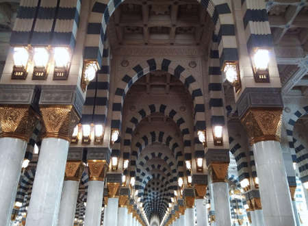 Interior of Masjid Al Nabawi in Medina, Saudi Arabia