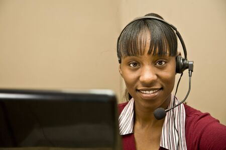An attractive African American customer support