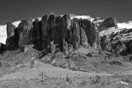 Superstition Mountain in Black and White photo
