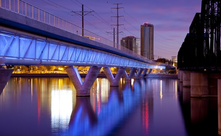 Tempe Arizona Light Rail Bridge and the City photo