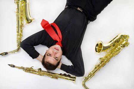 Latino Saxophone Player Isolated on White Stock Photo - 11701205
