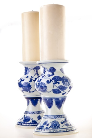 Blue and White Pottery Candlesticks