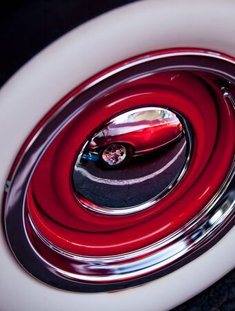 hubcap: Chrome Wheel With Reflection Stock Photo