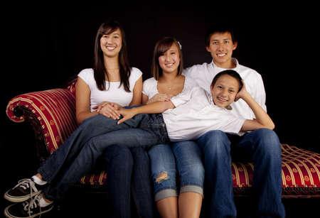 formal portrait: Multicultural Family Portrait Stock Photo