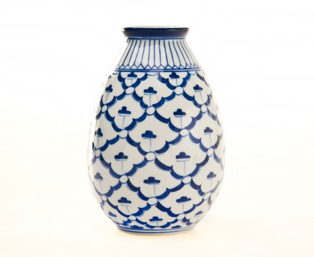 Blue and White Pottery Vase photo