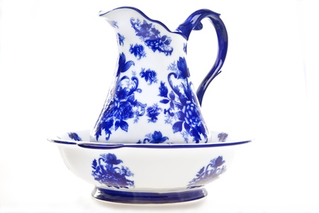 Blue and White Pottery Pitcher and Basin