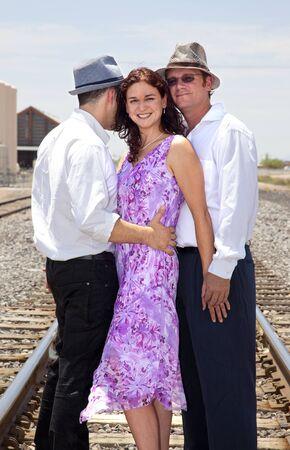 Frau mit zwei Männer Standard-Bild - 11701399