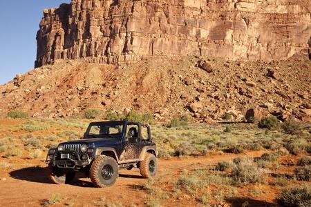 Jeep in Utahs San Juan County Desert 写真素材