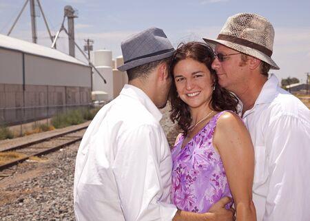 2 人の男性と女性 写真素材