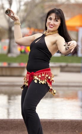 Scottsdale, Arizona, USA - January 23, 2010 - Belly dance demonstrator at Scottsdale Fit City Event Stok Fotoğraf - 11941022