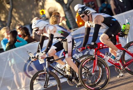 Tempe, Arizona, USA,  November 22, 2010 - Unidentified competitors racing in the cycling stage of the Phoenix Ironman Triathlon Editorial