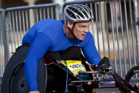 Tempe, Arizona, USA,  January 17, 2010 -  Peter Hawkins, wheelchair competitor, races in the P.F. Chang Rock and Roll Phoenix Marithon