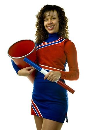 Cheerleader with Spirit Stick and Megaphone photo