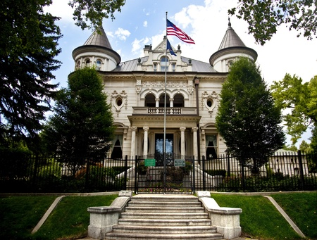 colonial building: Mansion of the Governor in Salt Lake City Utah Stock Photo