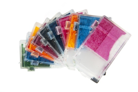 Colorful Empty Inkjet Printer Ink Cartridges Stock Photo
