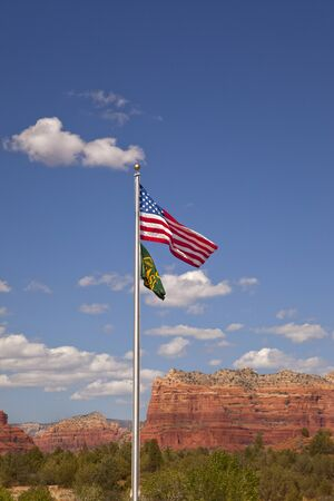 sedona: US and Forest Service Flags at Sedona