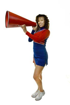 black cheerleader: Cheerleader with Megaphone