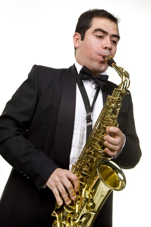 Saxaphone Player Playing Stock Photo