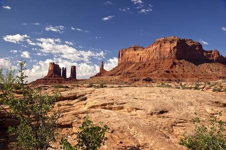 Sandstone monoliths in Monument Valley