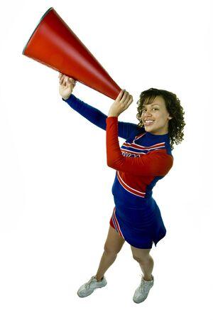 Uniformed Cheerleader with Megaphone photo