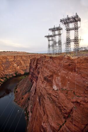 power lines: Power Lines at Glen Canyon Dam