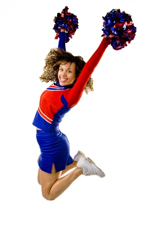 Cheerleader Jumping Stock Photo