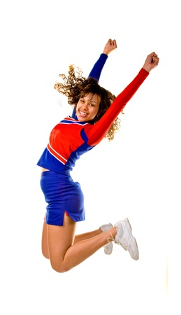black cheerleader: Cheerleader Jumping Stock Photo