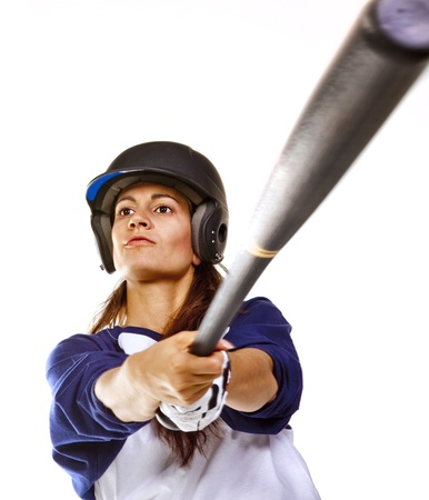 baseball swing: Woman Baseball or Softball Player batting Stock Photo