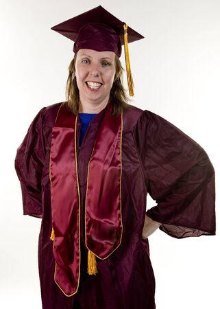 regalia: Student in graduation regalia.