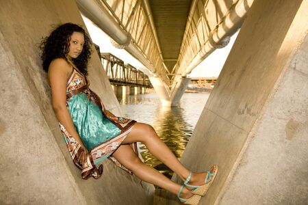 African-american Fashion model shot in an urban setting Stock Photo