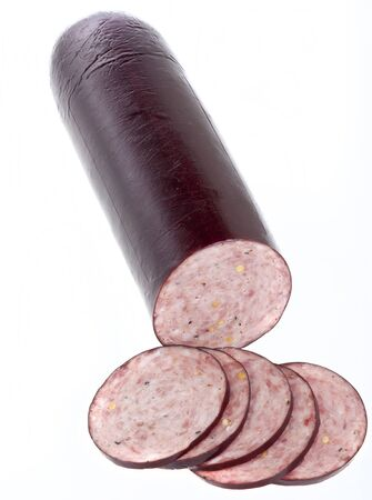 Summer Sausage isolated on white