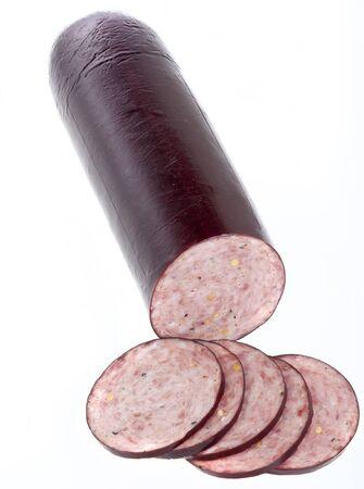 Summer Sausage isolated on white Reklamní fotografie - 13615456
