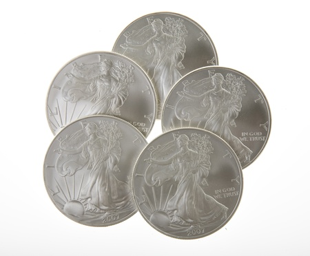 One ounce silver Walking Liberty coins from the United States