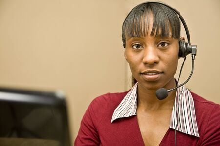 African American Customer Support Representative Stock Photo