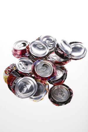 Pop cans crushed and ready for recycling