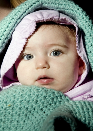 swaddled: Swaddled Baby Girl Stock Photo
