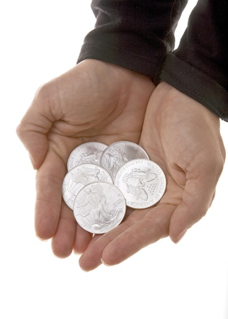 silver coins: Handful of Silver Liberty Coins