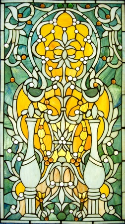Backlit victorian-style stained glass Window  Stock Photo