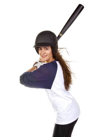 Woman baseball or softball player at bat isolated on white