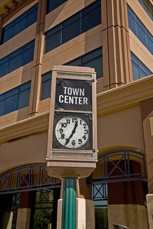 Town Center clock on main street in the downtown arts district of Mesa Arizona