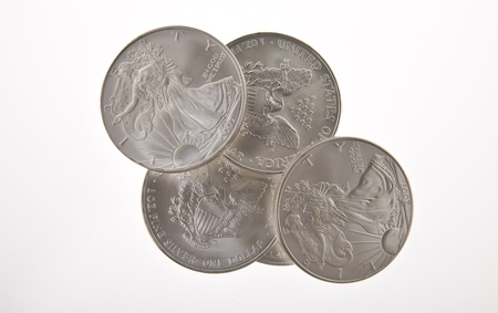 One ounce silver Walking Liberty coins Stock Photo