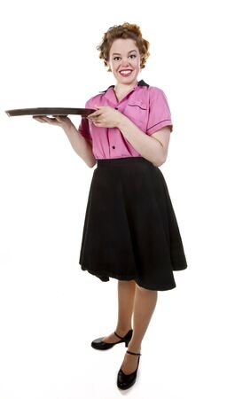 Vintage style waitress or female server with serving platter isolated on white  Stock Photo