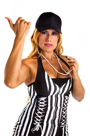 Sexy Referee Signals You are out Stock Photo - 16248378
