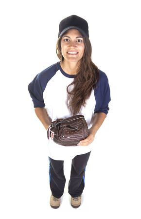 Woman Baseball or Softball Player Isolated on White Stock Photo - 16638609