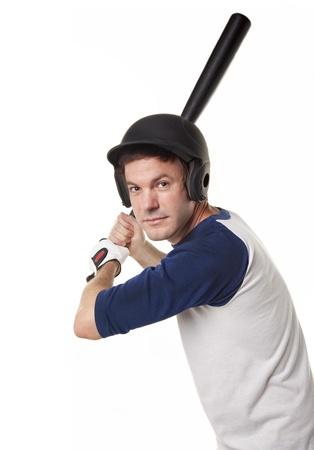 Baseball or softball Player Isolated on White Stock Photo - 16638611