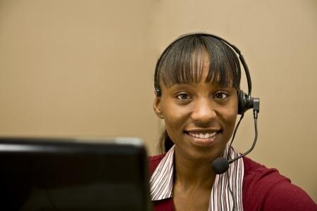 African American Customer Support Representative Stock Photo