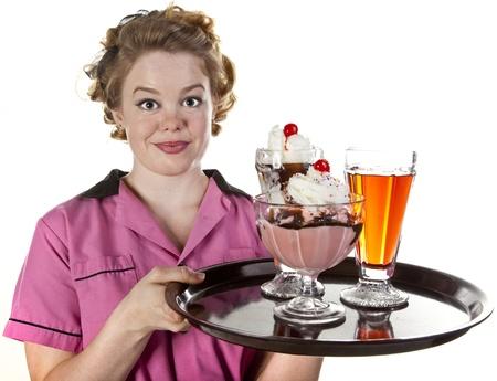 Vintage Style Waitress Serving Ice Cream and Sodas Stock Photo - 17414974