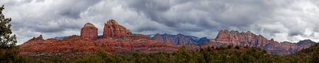 sedona: Cathedral Rock in Sedona Arizona Panoramic Stock Photo